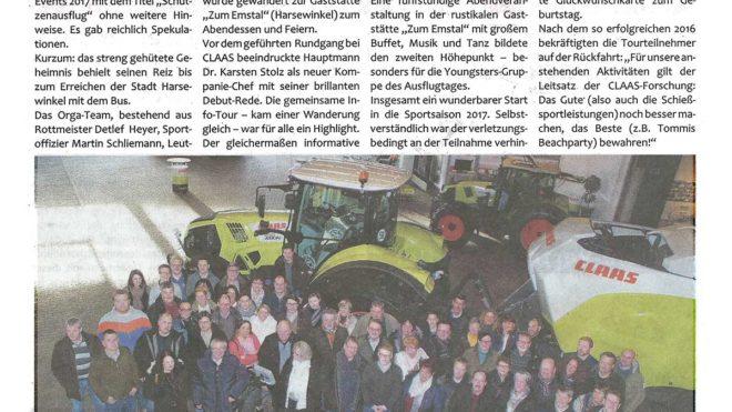 Pressebericht Schützenausflug zu Claas (Postillon)